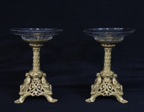 PAIR OF 19TH C. GILT BRONZE AND CUT GLASS TAZZAS