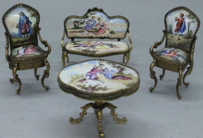 MINIATURE VIENNESE ENAMEL FURNITURE SET