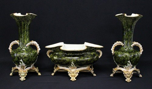ANTIQUE PORCELAIN AND GILT BRONZE GARNITURE