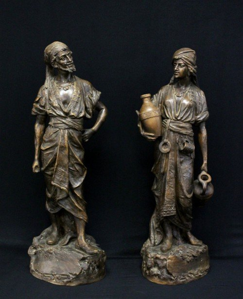 PAIR OF 19TH CENTURY TERRACOTA FIGURES OF ARAB MAN