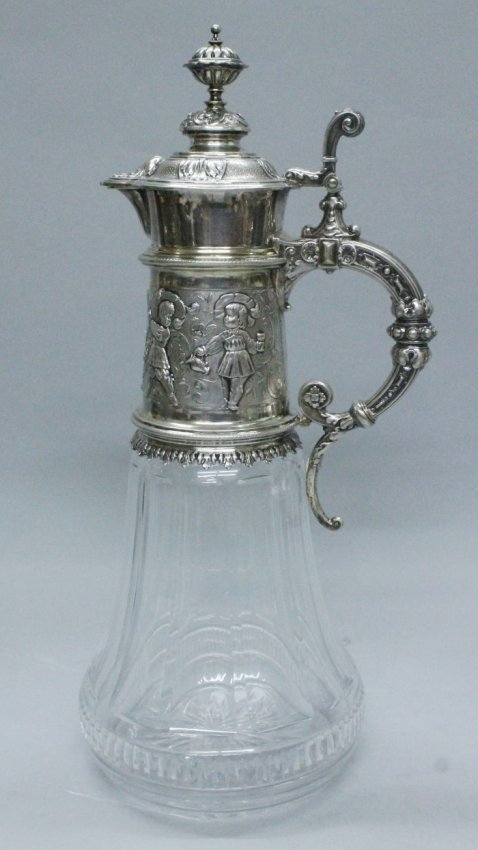 19TH C. GERMAN SILVER AND CUT GLASS JUG