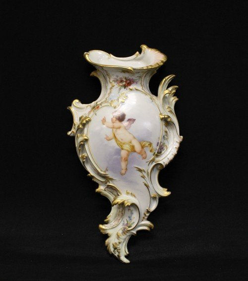 19th century kpm wall mount vase