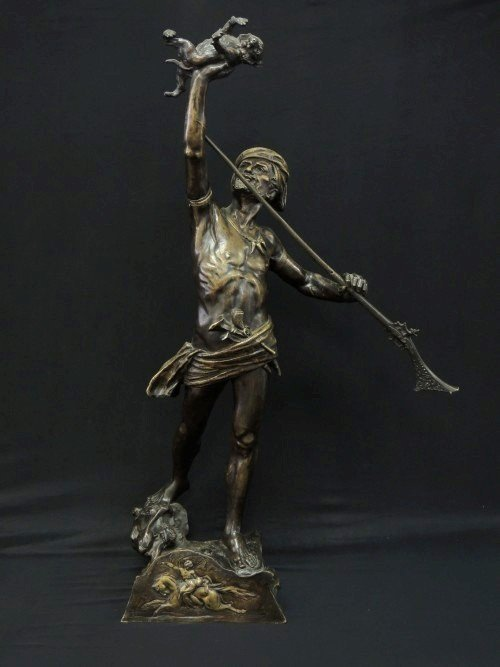 19TH CENT BRONZE OF ARAB HUNTER SIGNED DE WEVER