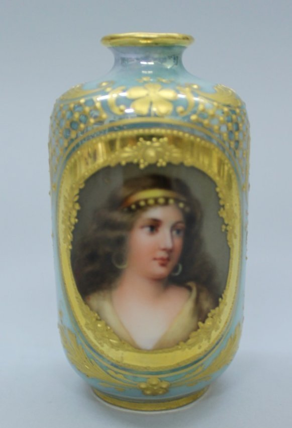 Royal Vienna Miniature Portrait Vase
