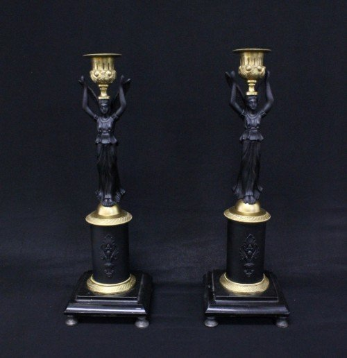 PAIR OF EMPIRE STYLE GILT AND PATINATED BRONZE AND