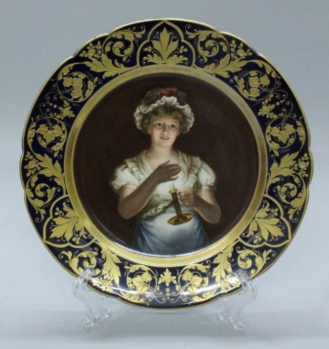 19TH C ROYAL VIENNA PLATE OF A YOUNG MAIDEN HOLDING A