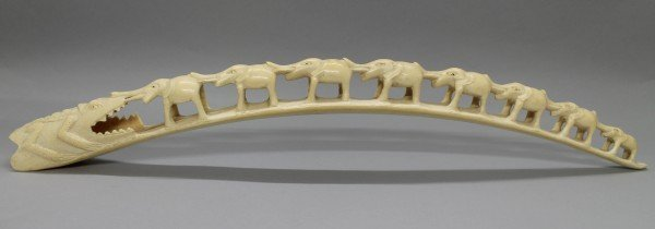 8 Elephants & Alligator Carved Ivory Tusk