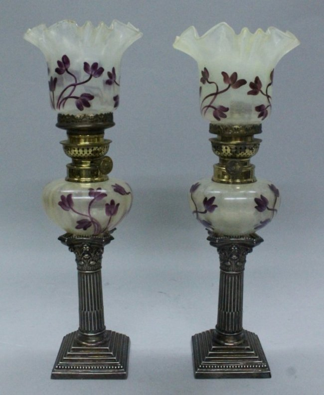 PAIR OF 19TH CENTURY SILVER PLATED AND ENAMELLED GLASS
