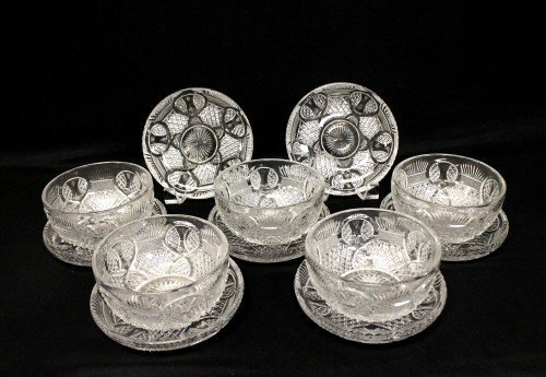 Set of american cut glass bowls and plates