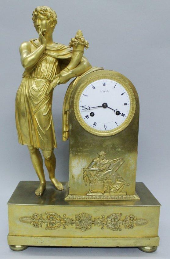 19th cent empire style gilt bronze clock