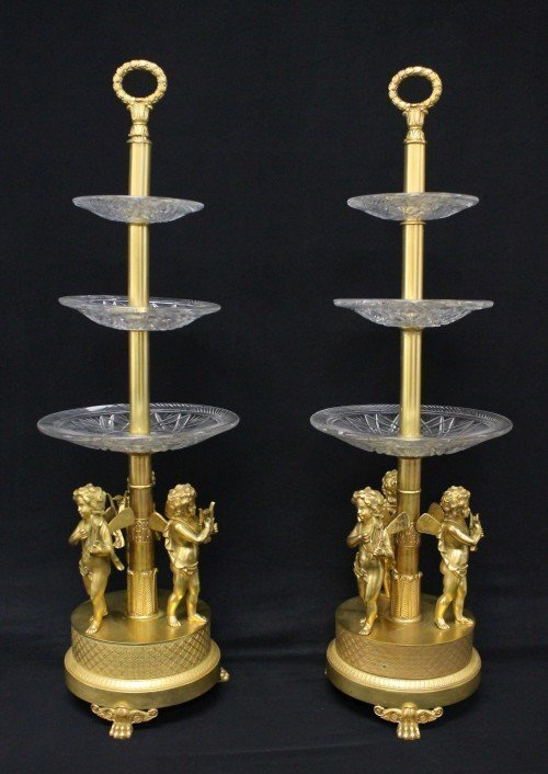 Pair Of Empire Style Gilt Bronze Cake Stands