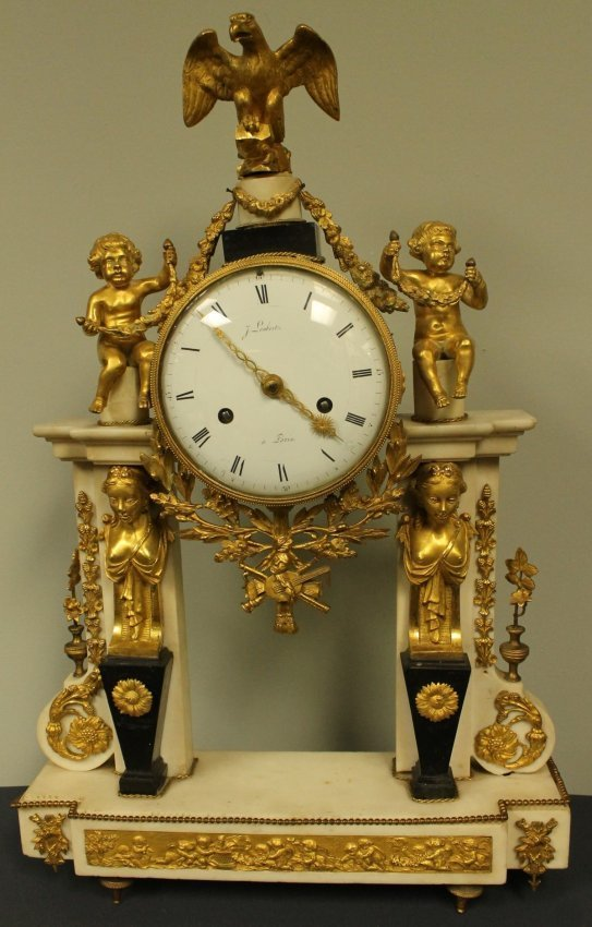 19TH C. WHITE MARBLE AND GILT BRONZE CLOCK