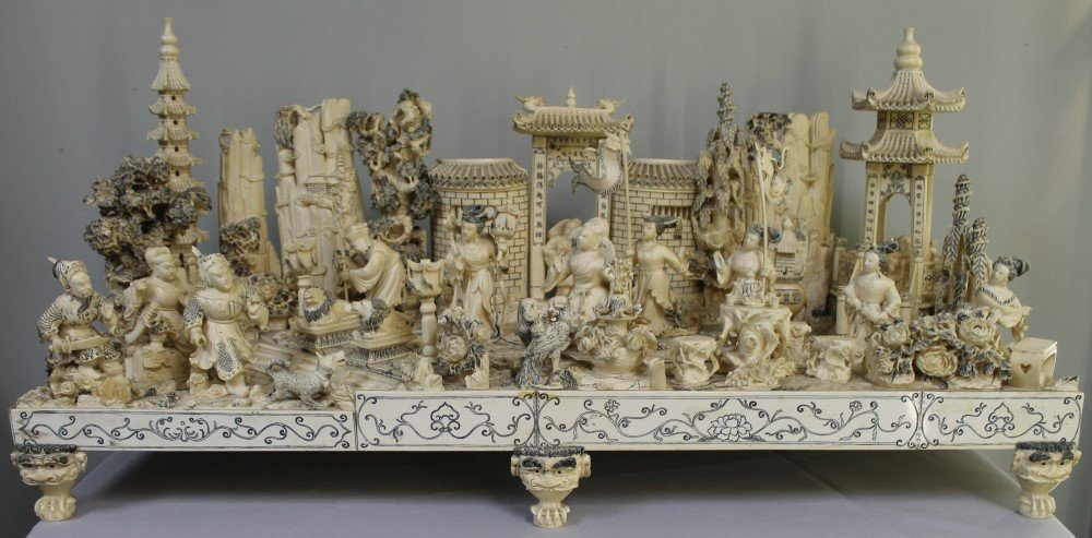 CHINESE MONUMENTAL IVORY SCULPTURE