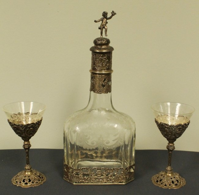 GERMAN SILVER AND GLASS BOTTLE AND CUPS