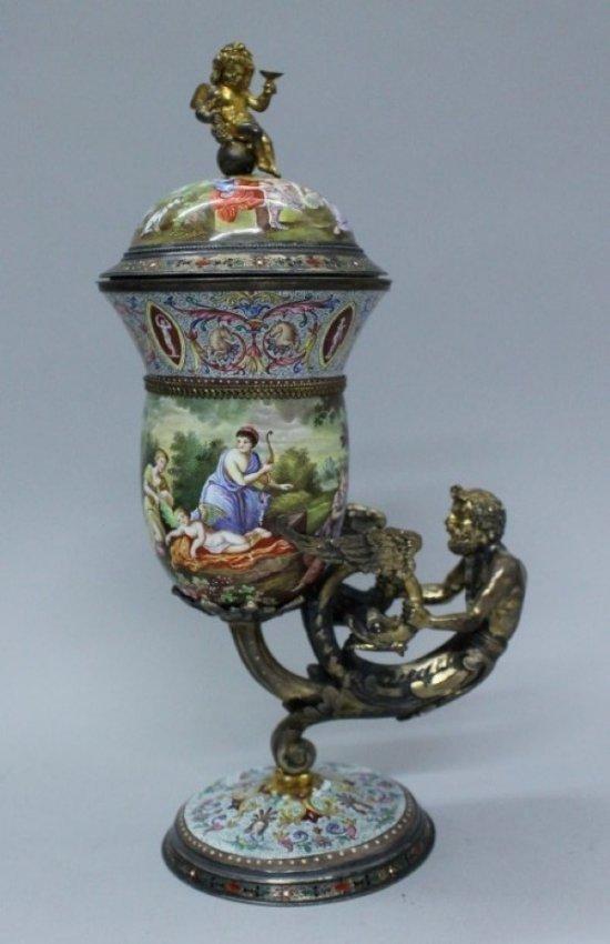 Viennese Enamel Vase On Silver