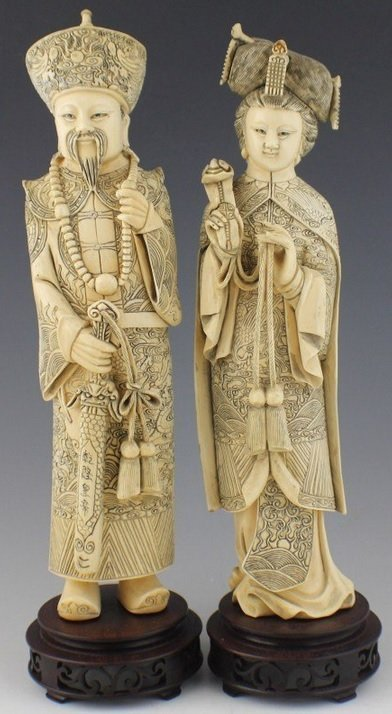 CHINESE CARVED ELEPHANT IVORY EMPEROR & EMPRESS