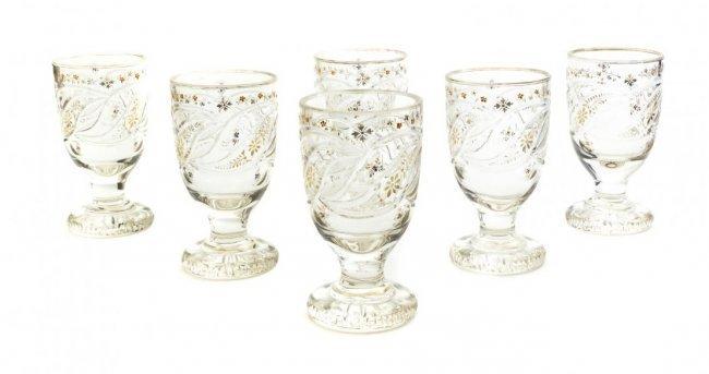 A Set of Six Bohemian Cut Glass Goblets