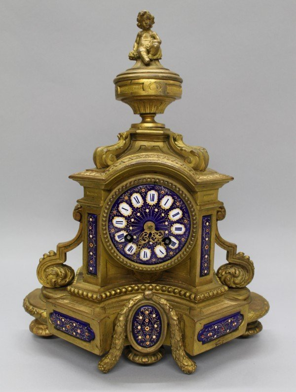 Enamel & Gilt Metal Clock