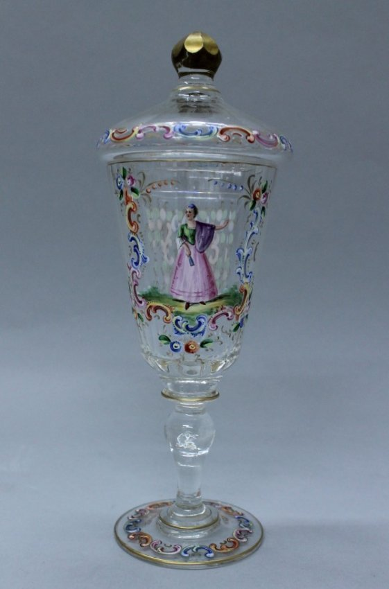 Lobmeyr Colorful Enamel Blown Glass Pokal