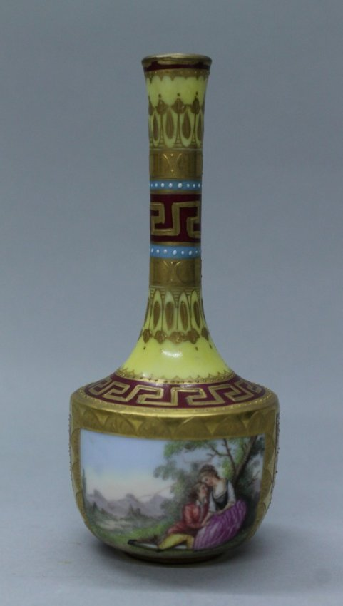 Royal Vienna Hand Painted Porcelain Bud Vase