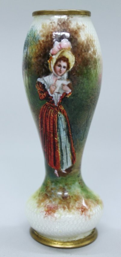 French Enamel Miniature Vase