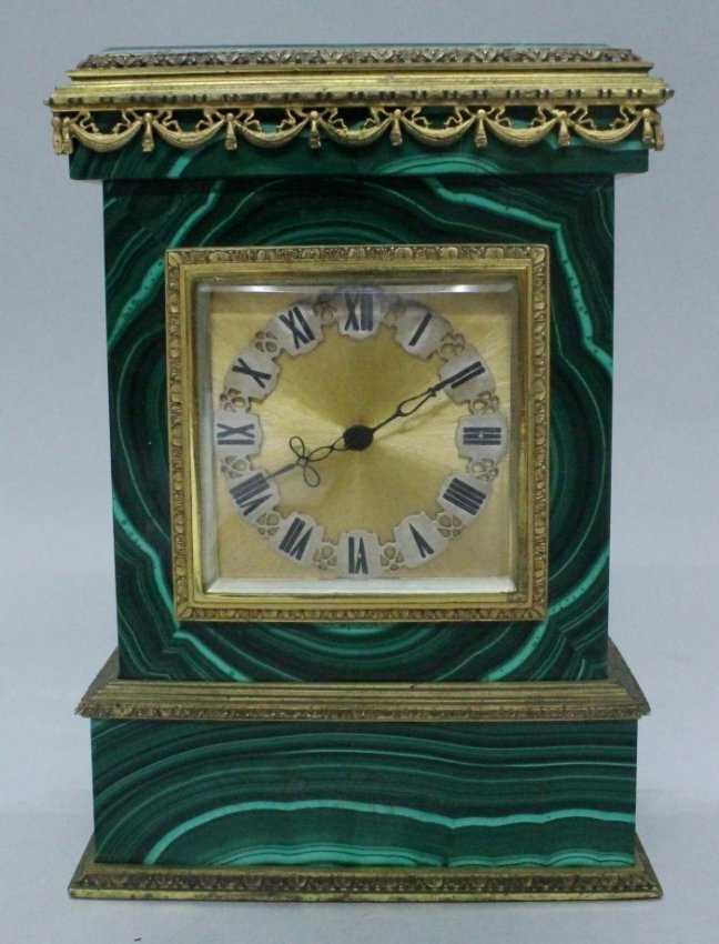 ORMOLU AND MALACHITE CLOCK ON SILVER
