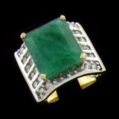 14 kt. Y/W Gold, 14.32CT Emerald and Diamond Ring