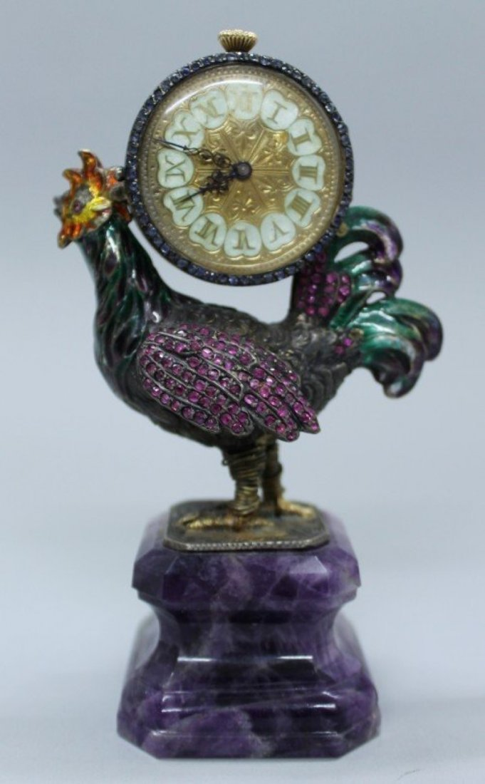 Austro Hungarian Jeweled Rooster Clock
