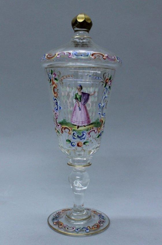 Lobmeyr Colorful Enamel Blown Glass Pokal