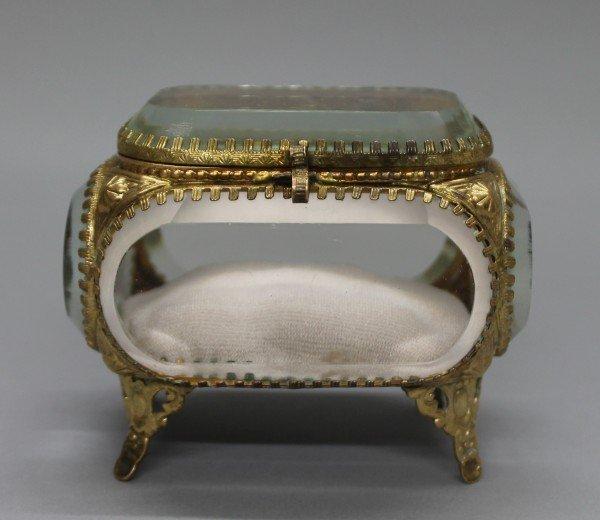C. 1900 Beveled Glass And Brass Jewelry Case