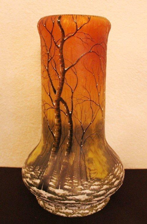Daum Nancy Vase Winter Scene