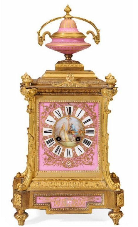 Louis Philippe Gilt Bronze and Porcelain-Inset Clock