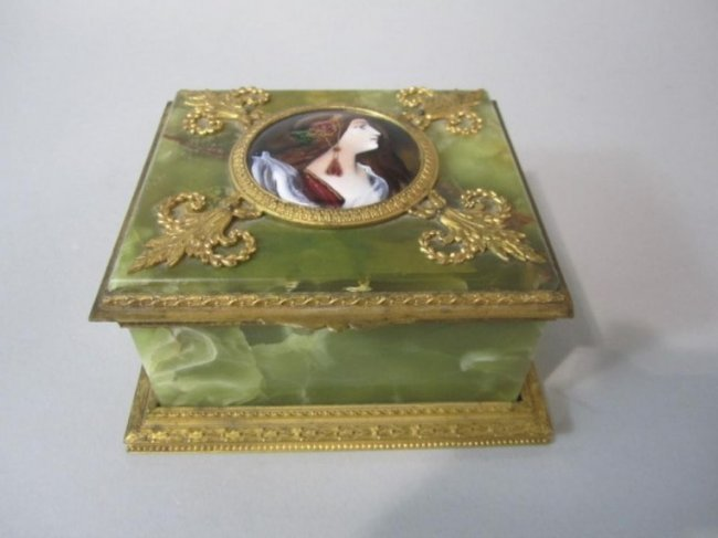 ENAMEL ORMOLU ONYX BOX
