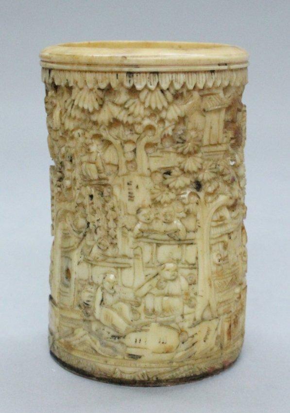 17/18th century Chinese ivory paint brush holder