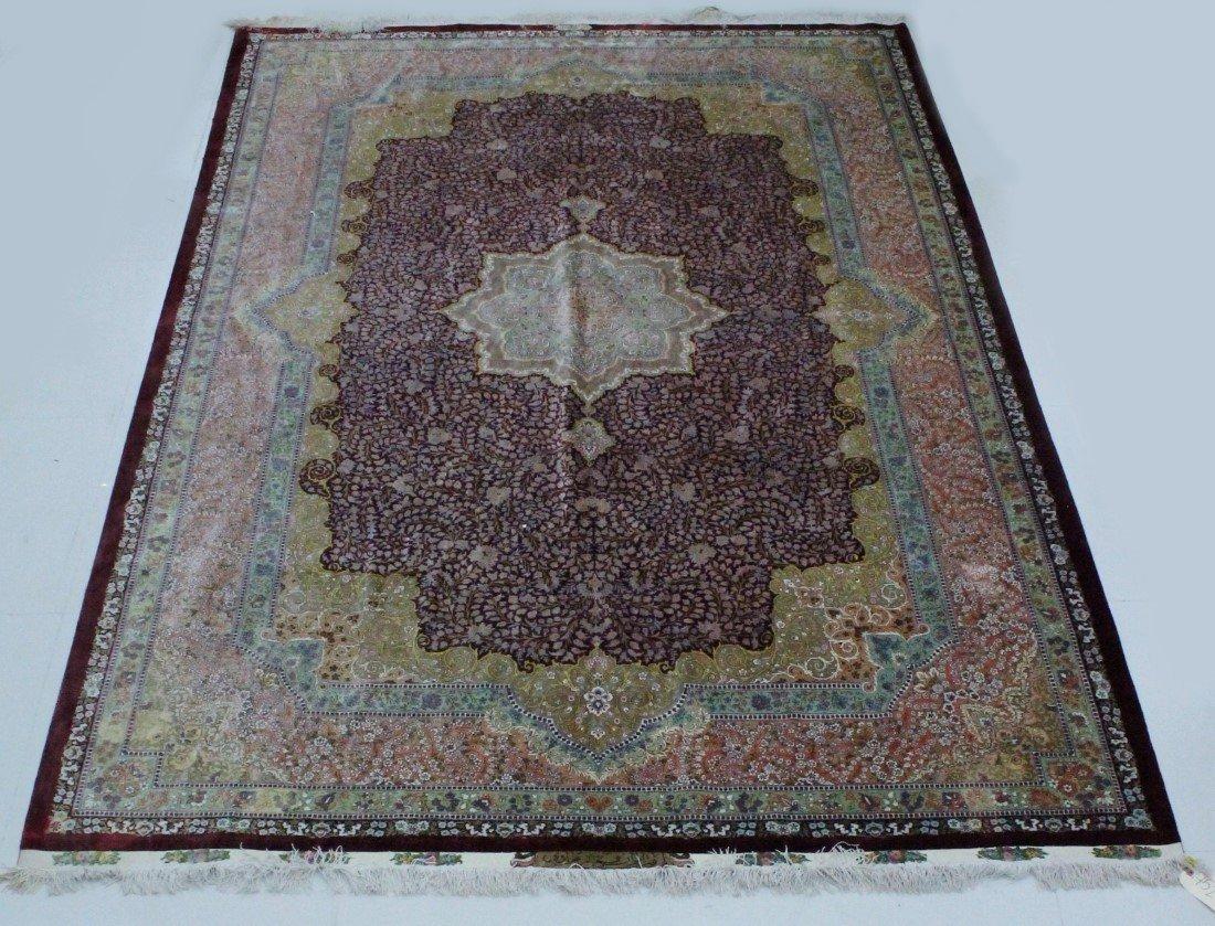 Persian 80 Raj Silk Qom (Qum) Rug Signed Javadi