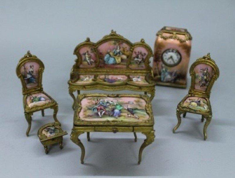 Viennese Enamel And Porcelain Miniature Furniture Set