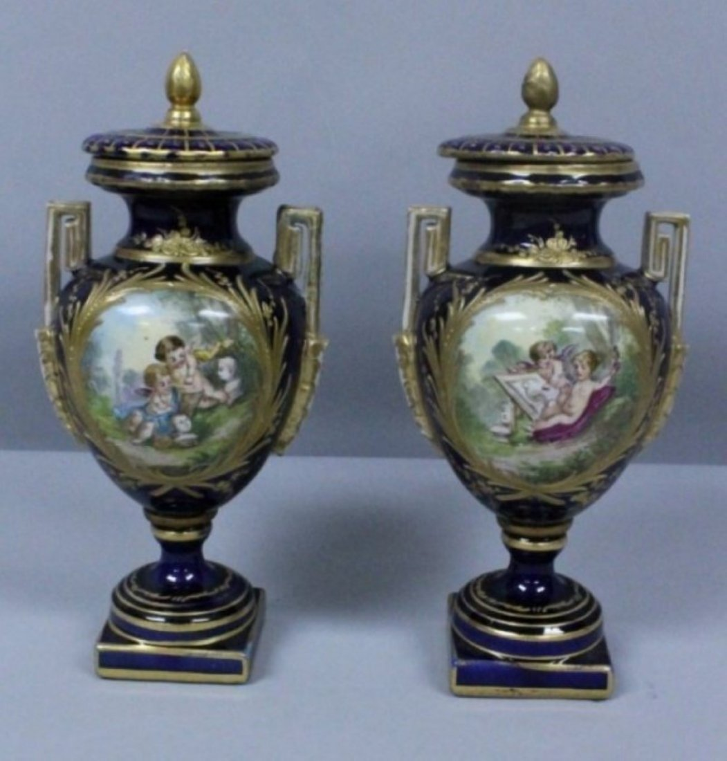 PAIR OF 19TH C. SEVRES STYLE VASES