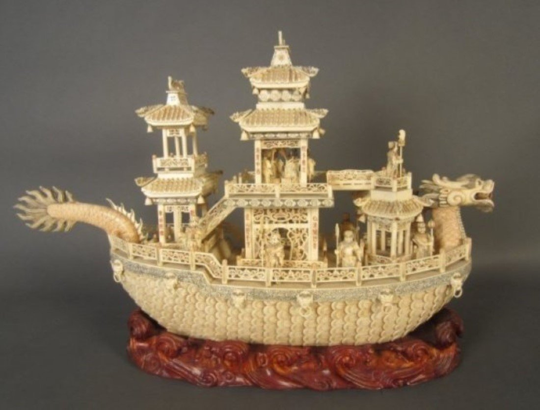Chinese Carved Bone Boat, 20th C