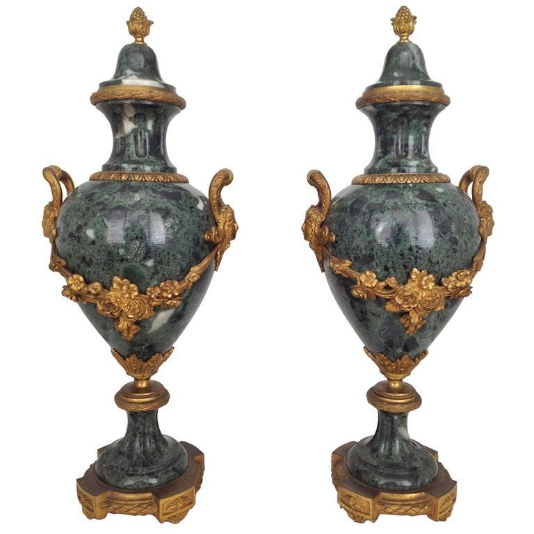 19th C. French Gilt Bronze Mounted Marble Urns