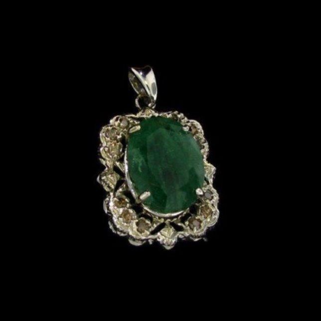 14 kt. White Gold, 11.65CT Emerald and Diamond Pendant