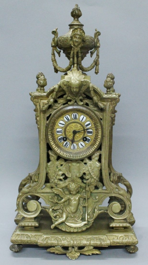 19th C. ORNATE FRENCH CARVED BRONZE CLOCK