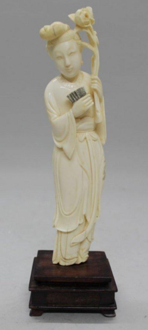 CHINESE IVORY FIGURE OF LADY