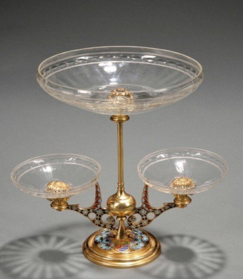 Gilt-bronze, Champleve, and Cut Glass Three-dish Tazza