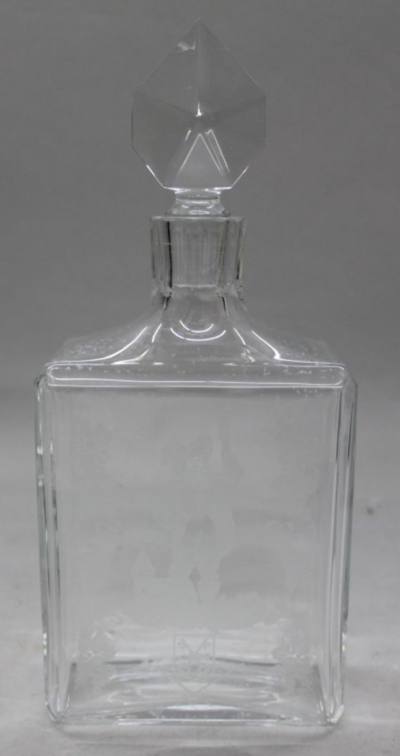 "11"" ANTIQUE SIGNED FRENCH BACCARAT CRYSTAL BOTTLE W/TOP"