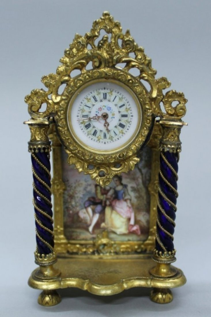 FRENCH ENAMEL MINIATURE PORTRAIT CLOCK W/ GILT METAL
