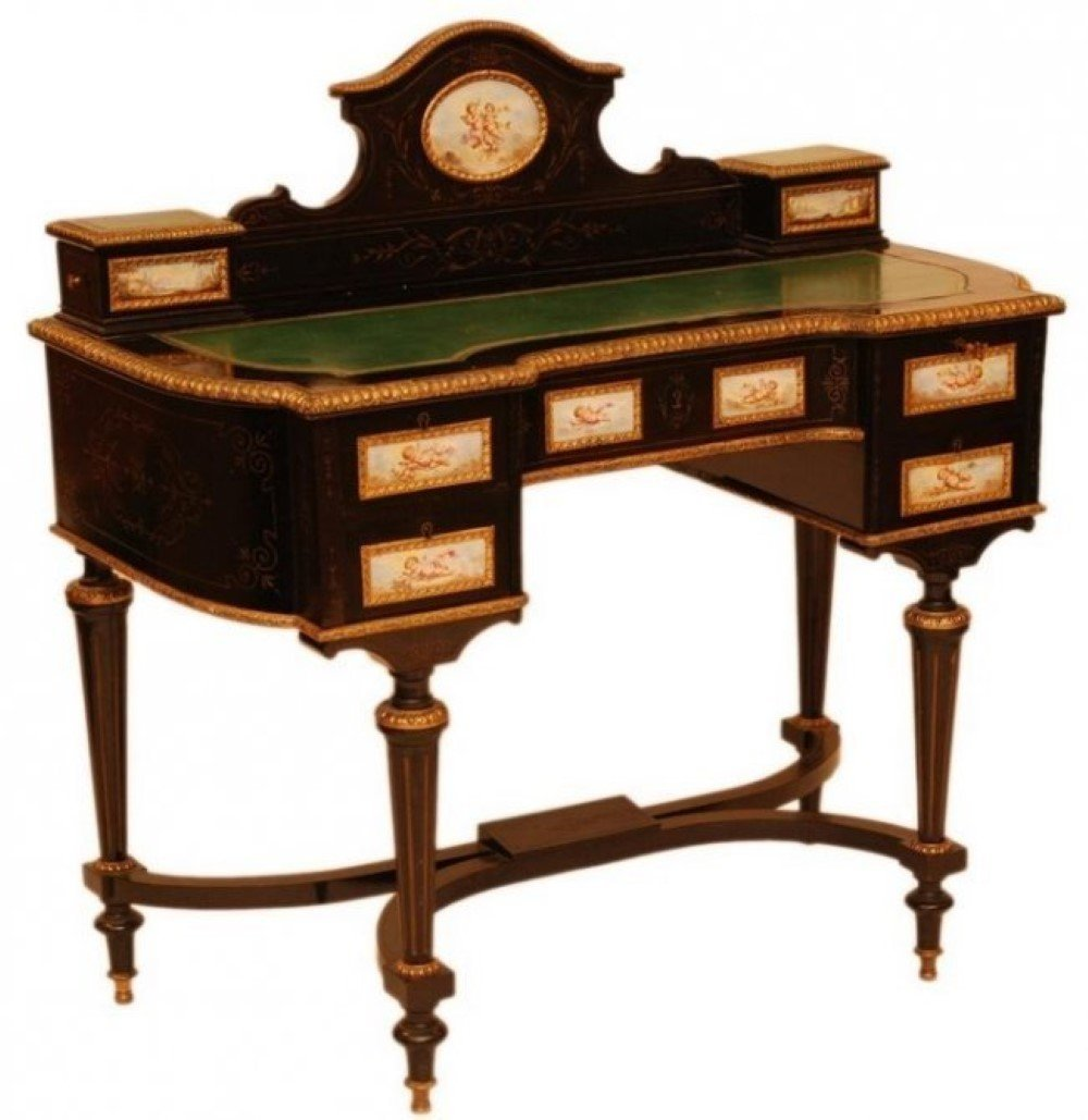 19th C. FRENCH EBONIZED LEATHER TOP WRITING DESK