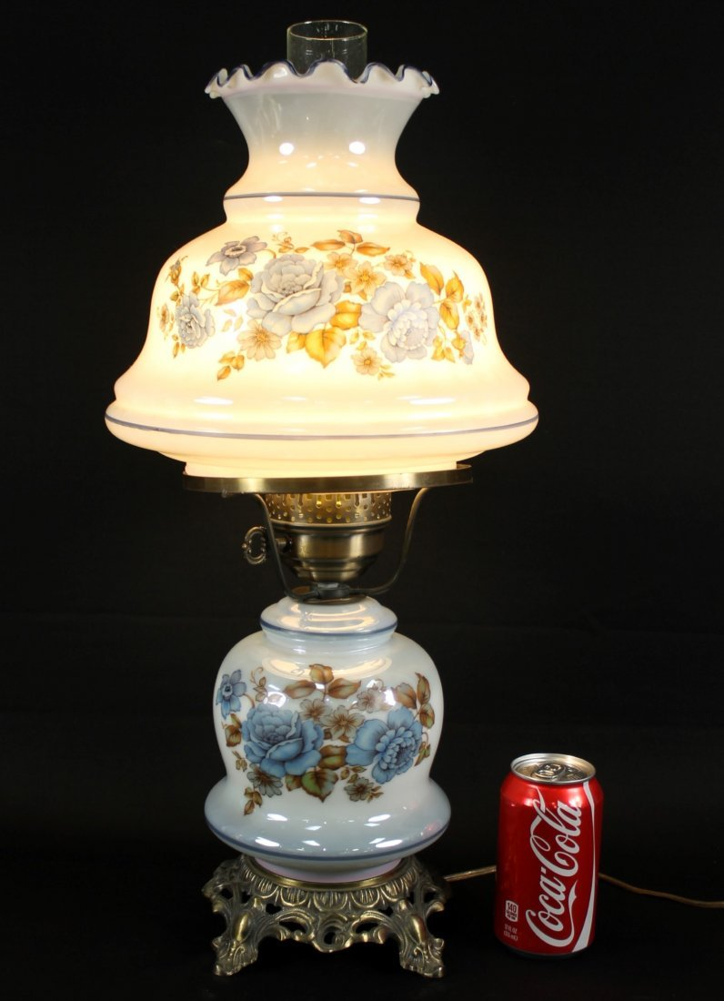 PORCELAIN AND OVERLAY GLASS LAMP WITH GILT BASE