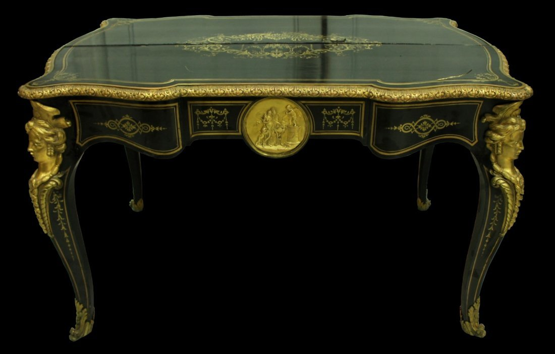 PAIR OF GILT FRENCH NAPOLEON III CONSOLE TABLES MID