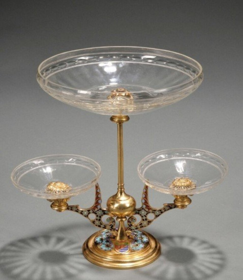 ANTIQUE FRENCH CHAMPLEVE DORE BRONZE W/THREE CUT GLASS