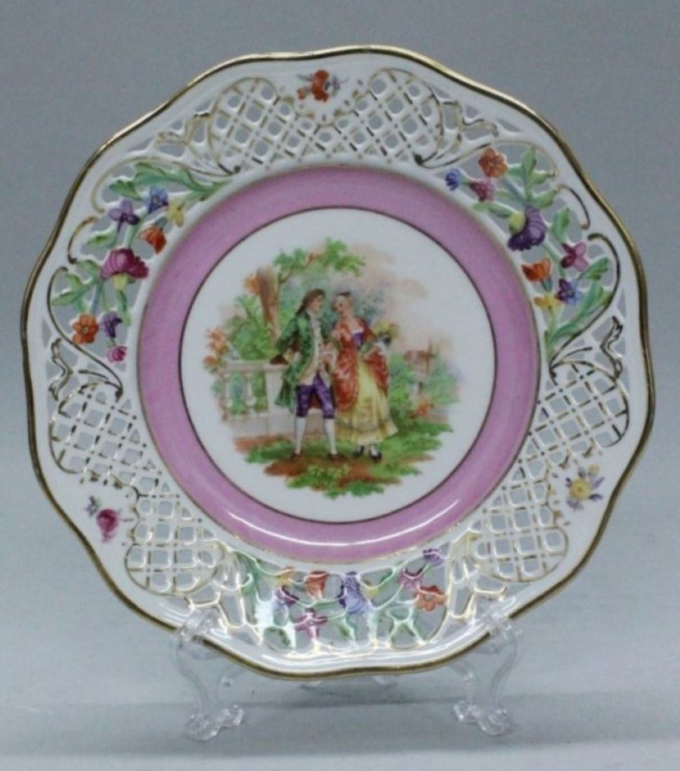 SHUMANN BAVARIA DRESDEN GERMANY RETICULATED PLATE